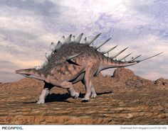 Kentrosaurus dinosaur walking in the desert Canvas Art - Elena DuvernayStocktrek Images x Cute Reptiles, Prehistoric Creatures, Prehistoric Age, Extinct Animals, Dinosaur Art, T Rex, Beautiful Creatures, Bald Eagle, Mammals