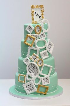 Love the idea of picture frames incorporated into the cake somehow. With either pics of couple or memories