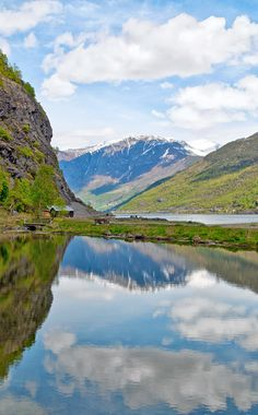 The fjords from Flåm, a tiny town on the banks of the Sognefjord, Norway's longest and deepest fjord