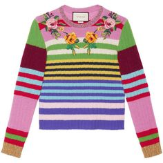 Gucci Embroidered Multicolor Knit Top featuring polyvore, women's fashion, clothing, tops, sweaters, gucci, multicolor, ready to wear, women, multi color sweater, pink striped sweater, metallic top, embroidered sweaters and striped knit sweater