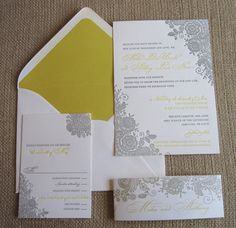 Lace Letterpress Invitation Suite by A and P Design Co.