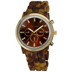 @Overstock - This fashion-forward time piece features a specially coated tortoise resin bracelet, giving it a soft and smooth touch. The oversized, boyfriend style dial has a faux-chrono design, and a beautiful sunray brown pattern.http://www.overstock.com/Jewelry-Watches/Vernier-Womens-Boyfriend-Soft-touch-Tortoise-Faux-Chrono-Watch/7310769/product.html?CID=214117 $29.99