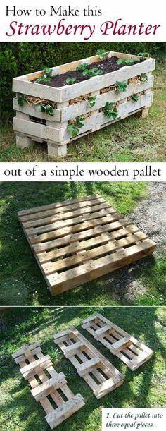 Make a Strawberry planter by pallets