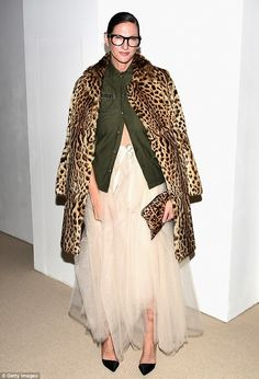 Mix and match: Fashion designer Jenna Lyons sported a leopard patterned jacket with matchi...