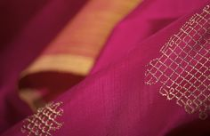Fine gold zari in elegant Kolam designs adorn sumptuous kanjivaram silks. #sari #silk #kanjivaram #india #kolam