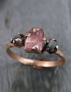 Raw Pink Tourmaline Diamond rose gold engagement ring