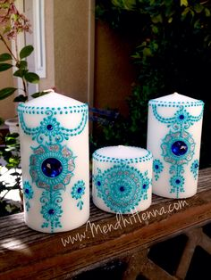 Instagram @MendhiHennaArtist Mason Jar Candles, Pillar Candles, Henna Candles, Candle Art, Wedding Unity Candles, Candle Accessories, Painted Jars, Luxury Candles, Candlesticks
