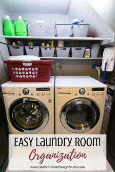 EASY Laundry Room Organization | ©️GarrisonStreetDesignStudio | Laundry Room | Organization | Easy | Cheap | DIY | Small | Ideas | Slanted Ceiling | Under Stairs | On a Budget | Shelves | Bins | Storage | Layout | Hanging | Front Loader | Stackable | Closet | Tiny | Shelves | Cleaning Supplies | Labels | Decor | Simple | Quick | Tips | Lint | Rental | Dryer Sheets | Baskets | Dollar Tree | Dollar Store | Apartment | Hanging | Budget