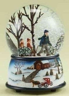 """5"""" Musical Kids with Tree on Sled Christmas Snow Globe Glitterdome:"""