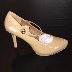 "White House Black Market Mary Jane Heels Beautiful dark nude Patent Leather Mary Jane Style Heels. 4"" heels with .5"" hidden platforms. Snap closure on straps. Gold button decoration. 'Shayla' Style. Entertaining offers on these beautiful heels. So  versatile. Adds class to any outfit. White House Black Market Shoes Heels"