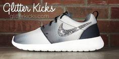 Women's Nike Roshe One PRT Casual Shoes By Glitter Kicks - Customized With Swarovski Elements Crystal Rhinestones - Black/White Gradient Print