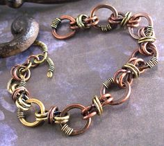 Copper and brass bracelet