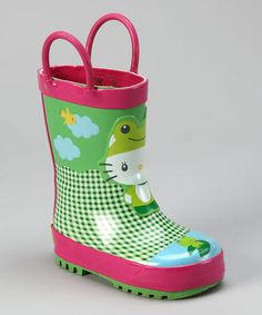 Take a look at this Green Hello Kitty Froggy Rain Boot by Western Chief on #zulily today!