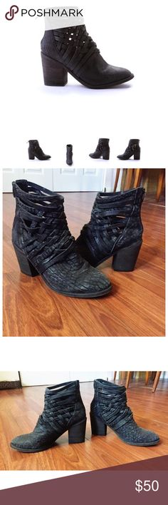 "Free People Carrera Block Heel Boot Free People Carrera washed leather block heel boot with basket-weave detailing up the ankle and zip back for easy on and off. Size 41. Heel: 3.6"" Shaft: 8"". In excellent condition, only worn a handful of times with care. Free People Shoes Ankle Boots & Booties"