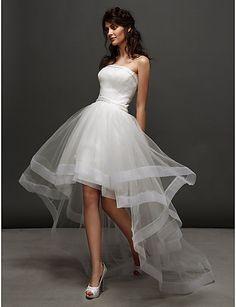 ボールガウン ウェディングドレス アイボリー チュール ストラップレス アシンメトリー 小柄 / 大きいサイズ - USD $ 89.99