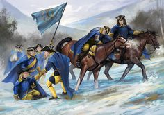Swedish soldiers retreating across mountain passes back to Sweden, Great Northern War