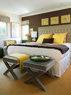 Google Image Result for http://something2writeabout.files.wordpress.com/2013/01/nookandsea-bedroom-modern-brown-walls-paint-window-treatment-geometric-yellow-mustard-stools-headboard.jpg%3Fw%3D560%26h%3D750