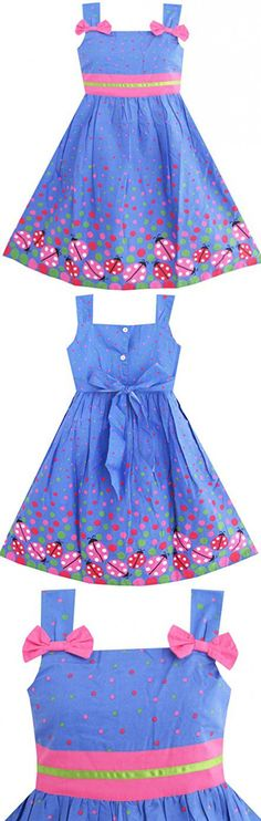 Sunny Fashion Girls Dress Blue Bug Pink Dot Size 4-5