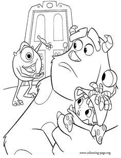 Mike Sulley And Boo Coloring Page