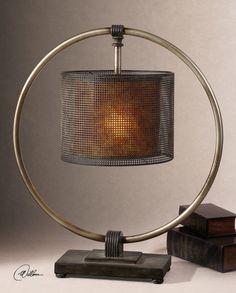 Uttermost Dalou Hanging Shade Table Lamp | Rustic, Dark Bronze Finish With A Rottenstone Glaze And An Antiqued Silver Ring.<br><br>Dimensions (inches): 24D, 24W, 27.5H.
