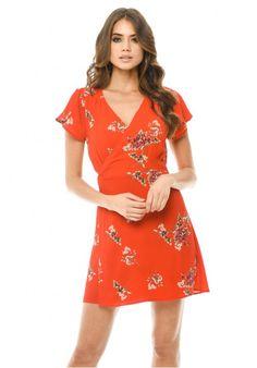 1b5eaac6e87b Red Floral Wrap Dress Wrap Dress Floral, Flutter Sleeve, Street Outfit,  Fashion Online