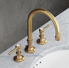 Check out the Lugarno Lever-handle Gooseneck Faucet Set in Bathroom Faucets & Tub Fillers, Faucets & Fixtures from Restoration Hardware for Bathroom Red, Bathroom Faucets, Modern Bathroom, Small Bathroom, Bathroom Ideas, Bathroom Organization, Master Bathrooms, Dream Bathrooms, Bathroom Designs