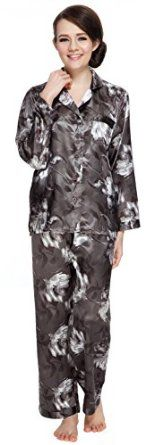Women's Long Sleeve Premium Satin Pajama Set. Fabric:Silky satin, 100% polyester, Wash in cool water with like colors. Dry on low heat only.Made from premium satin fabric for a silk-like experience,Button front top & elastic waist pj pants,Premium silk like fabric. Check back often for new colors & prints.  Price:$27.99