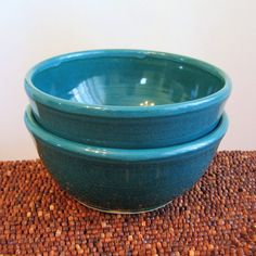 Cereal or Soup Bowls In Peacock Blue - Set of 2 Pottery Bowls on Etsy, Sold