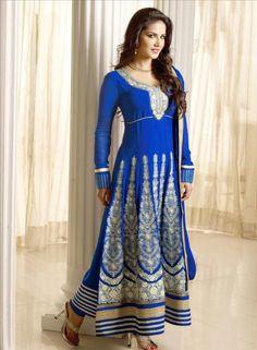 Buy Bollywood Blue Designer Sunny Leone Anarkali with Chudidar $72.59 .  Shop at - bollywood-ankle-length-anarkali.blogspot.co.uk/2014/06/buy-bollywood-blue-designer-sunny-leone_18.html