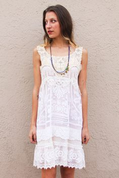 White Lace Redesigned Vintage Mini Dress