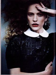 Ukrainian model Maria Rudkovskaya photographed by Aleksei Kolpakov for the cover shoot of the fashion magazine Harper's Bazaar Ukraine for the December 2011 issue.