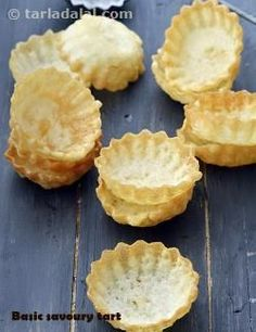 Basic Savoury Tart recipe by Tarla Dalal Savory Snacks, Snack Recipes, Cooking Recipes, Canapes Recipes, Savory Muffins, Cooking Time, Indian Snacks, Indian Food Recipes, Indian Appetizers