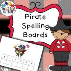 Pirate Topic Spelling Boards / ASD / SEN / Autism  Spelling boards related to Pirate topic. I recommend printing two copies of each, cutting out the letters on one of them and then having the pupil place in correct order/position. Includes; crab, flag, hook, parrot, pirate, ship, sword, treasure. Instructions;  Print two copies of each page.  Laminate one copy as a 'board' Cut out the boxes with letters on the other page. Laminate the cut outs and cut again.  Put them on table in mixed up…
