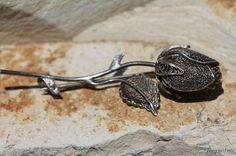 Vintage 925 Sterling Silver Filigree Long Stem Rose Brooch Pin Signed FAS