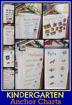 Kindergarten Anchor Charts (hanging from hangers) via RainbowsWithinReach
