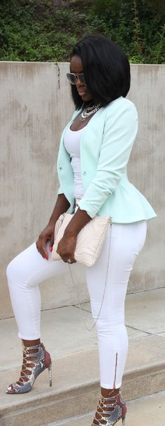 Mint Ice: Love the cool color scheme...and looks like I have a thing for strappy heels.-SN