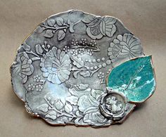 Damask Ceramic  Bowl  Dusty Earth Brown with Cameo by dgordon, $38.00