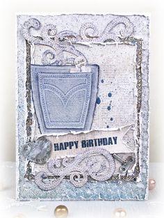 Masculine Birthday Card by Tracey Sabella ~ DT for Donna Salazar Designs: Mix'd Media Inx, Smooch Spritz, Spellbinders Pockets and Swirls, Creative Page Tabs, Distrezz-it-All, Helmar Adhesives, Hand Stitching