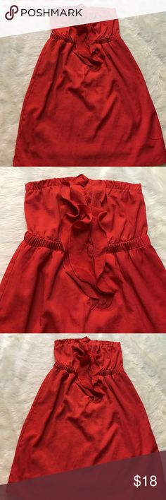 """LUSH STRAPLESS ORANGE DRESS Size XS. In excellent preworn condition. Orange color. Perfect to wear somewhere tropical or spring time fun! The dress is 25"""" long and 13"""" across. Sorry no trades! Lush Dresses Strapless"""