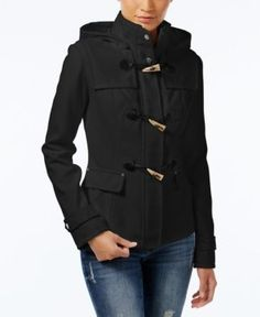 A faux-leather toggle closure, decorative buttons and a cozy removable hood combine to beautiful effect in this peacoat from Celebrity Pink. | Shell: polyester/cotton/acrylic/wool/other fibers; lining