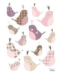 Stickers oiseaux du levant by Magali Fournier x 42 cm) - Lilipinso Paper Tags, Diy Paper, Paper Crafts, Applique Patterns, Print Patterns, Bird Template, Ideias Diy, Little Birds, Planner