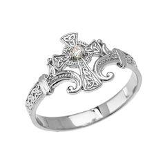 481c8b512bb 14k White Gold Solitaire Diamond Celtic Cross with Trinity Knot Design  Elegant Ring -- Learn