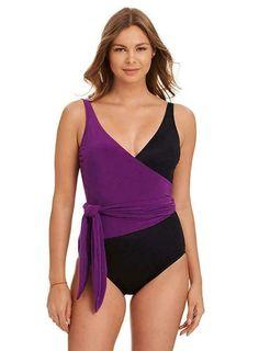 1426f7edf22 Magicsuit Miraclesuit Size 10 Misty Solid Purple/Black Wrap 1-Piece Swimsuit  NWT #