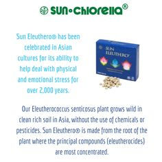 Add Sun Eleuthero® to your daily regime to help support balance in your life. Sun Eleuthero® is an Eleutherococcus senticosus food supplement that has been celebrated in Asian cultures for its ability to help deal with physical and emotional stress for over 2,000 years. https://www.sunchlorella.co.uk/  Sun Chlorella® 'A' is a natural whole food supplement, free from synthetic ingredients allowing the body to maximise its health benefits.