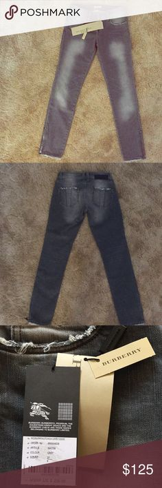 Burberry Brit Jeans Brand New With Tags Still On. Size 27 Grey wash Burberry Brit Cropped Jeans w/ zipper on each leg Burberry Jeans Ankle & Cropped