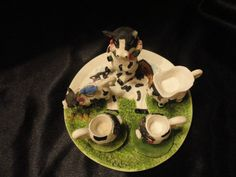 10 pieces of cow collectibles ceramic and by VintageAdorables, $20.00