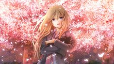 Desktop Wallpaper Blonde Anime Girl In Garden, Kaori Miyazono, Shigatsu Wa Kimi No Uso, Hd Image, Picture, Background, Mhbwod