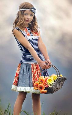 Persnickety ``Alpine Daisy`` Orange Sewing Projects For Kids, Sewing For Kids, Little Girl Fashion, Kids Fashion, World's Cutest Girl, Very Pretty Girl, Girl Outfits, Cute Outfits, Baby Skirt