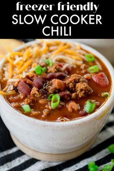 Slow Cooker Beef Chili is a classic chili recipe with one special ingredient that makes it THE BEST chili recipe I've ever made! This chili recipe can be made right away in the slow cooker, or it can be made into a freezer meal for an easy weeknight dinner any time! Slow Cooker Turkey, Slow Cooker Chili, Crock Pot Slow Cooker, Slow Cooker Recipes, Classic Chili Recipe, Best Chili Recipe, Meal Recipes, Chili Recipes, Dinner Recipes