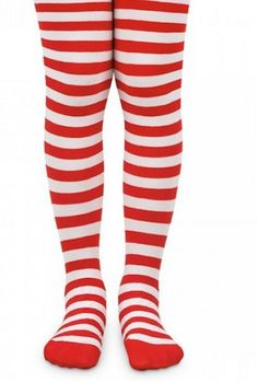70289f363e7 Details about Candy Cane Striped Tights Red White Stripes Rag Doll Costume  Ages 2-10. Striped Knee High ...